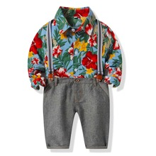 Toddler Boys Floral Print Shirt & Pants