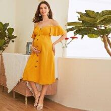 Maternity Cold Shoulder Button Detail Dress