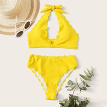 Rib Scallop Trim Halter High Waisted Bikini Swimsuit