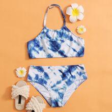 Bañador de niñas Tie-Dye Azul