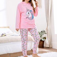 Plus Raglan Sleeve Unicorn Print Hoodie & Pants PJ Set