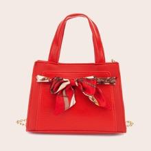 Twilly Scarf Decor Chain Satchel Bag