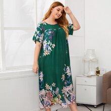 Plus Floral Print Drop Shoulder Maxi Dress