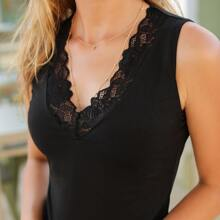 Lace Trim Solid Tank Top