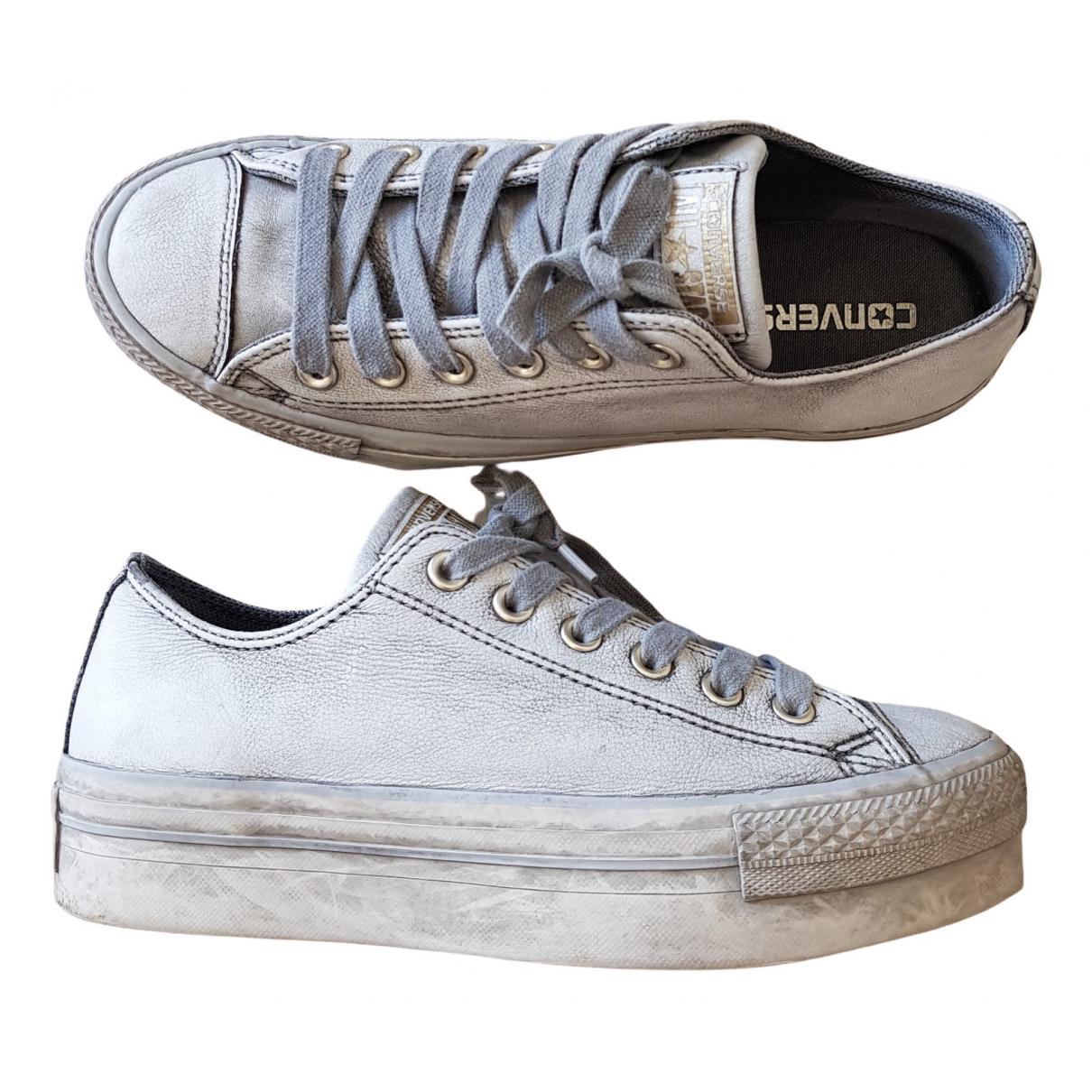 Converse - Baskets   pour femme en cuir - gris