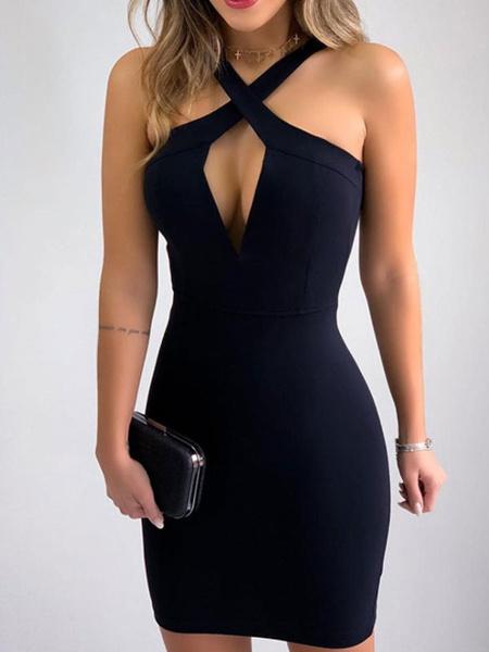 Milanoo Vestidos ajustados negros Vestido sin mangas dividido sin mangas cortado