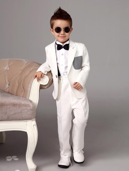 Milanoo White Boy Suit Wedding Tuxedo Jacket Pants Shirts Bow Tie Kids Formal Wear 4 Pcs Ring Bearer Suit Set
