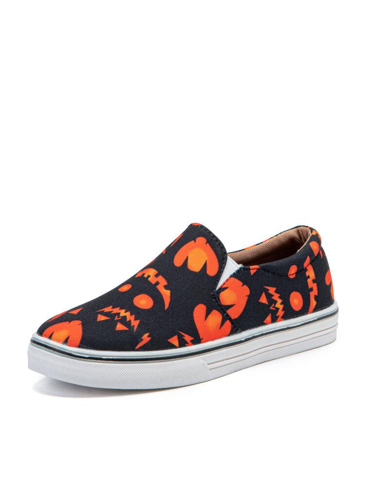 Plus Size Women Holloween Pumpkin Printing Slip On Canvas Flats Shoes