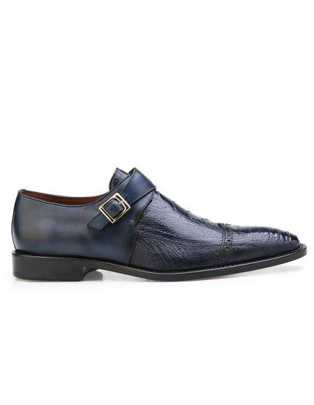 Mens Authentic Belvedere Brand Slip On Leather Buckle Blue Safari Shoe