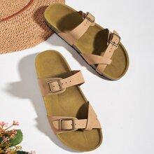 Toe Post Buckle Decor Slide Sandals
