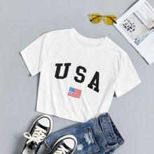 Crop T-Shirt mit Buchstaben & Flagge Muster