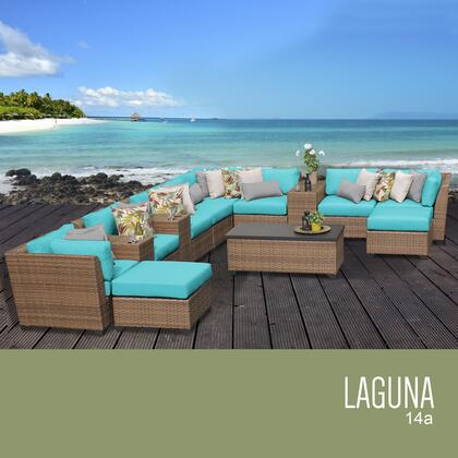 LAGUNA-14a-ARUBA Laguna 14 Piece Outdoor Wicker Patio Furniture Set 14a with 2 Covers: Wheat and