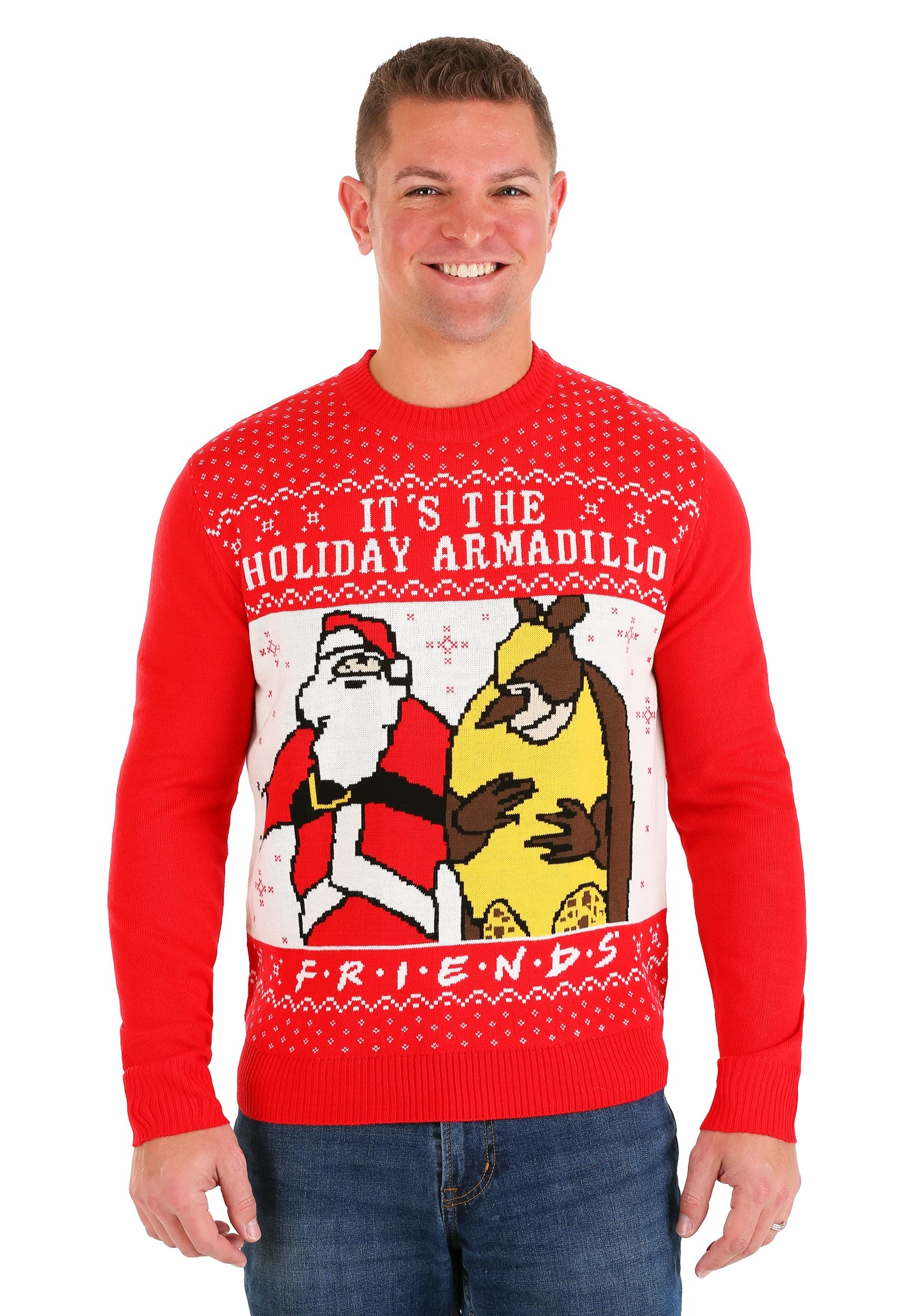 Friends It's the Holiday Armadillo! Ugly Christmas Sweater for Adults