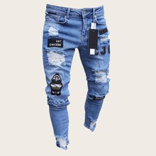 Guys Letter & Cartoon Patched Ripped Jeans