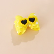 1pc Heart Glasses Decor Bow Dog Hair Tie