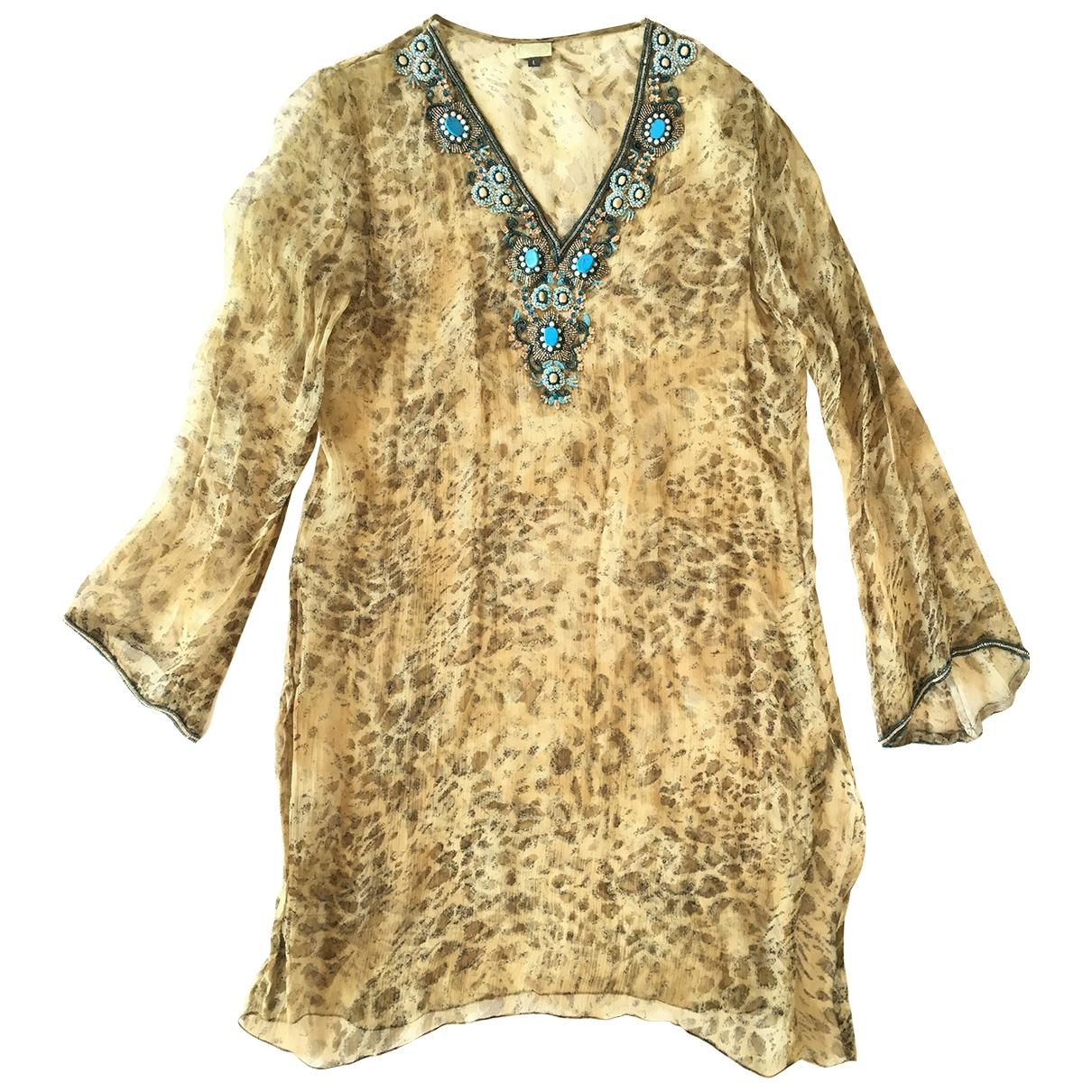 Non Signé / Unsigned \N Khaki Silk dress for Women L International