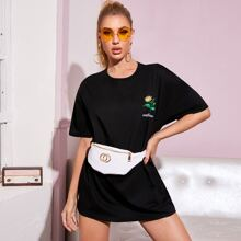 Sunflower & Letter Graphic Oversized Tee Without Bag