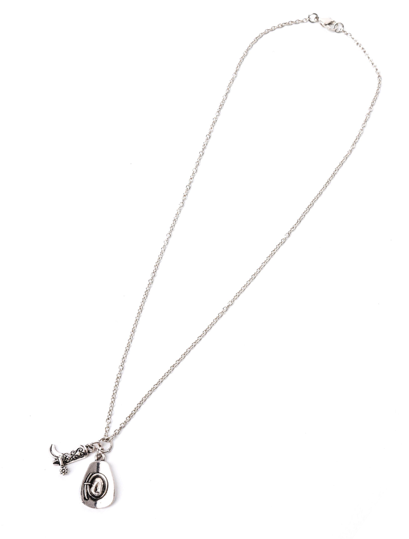 Kostuemzubehor Halskette Cowboyhut und Stiefel silber