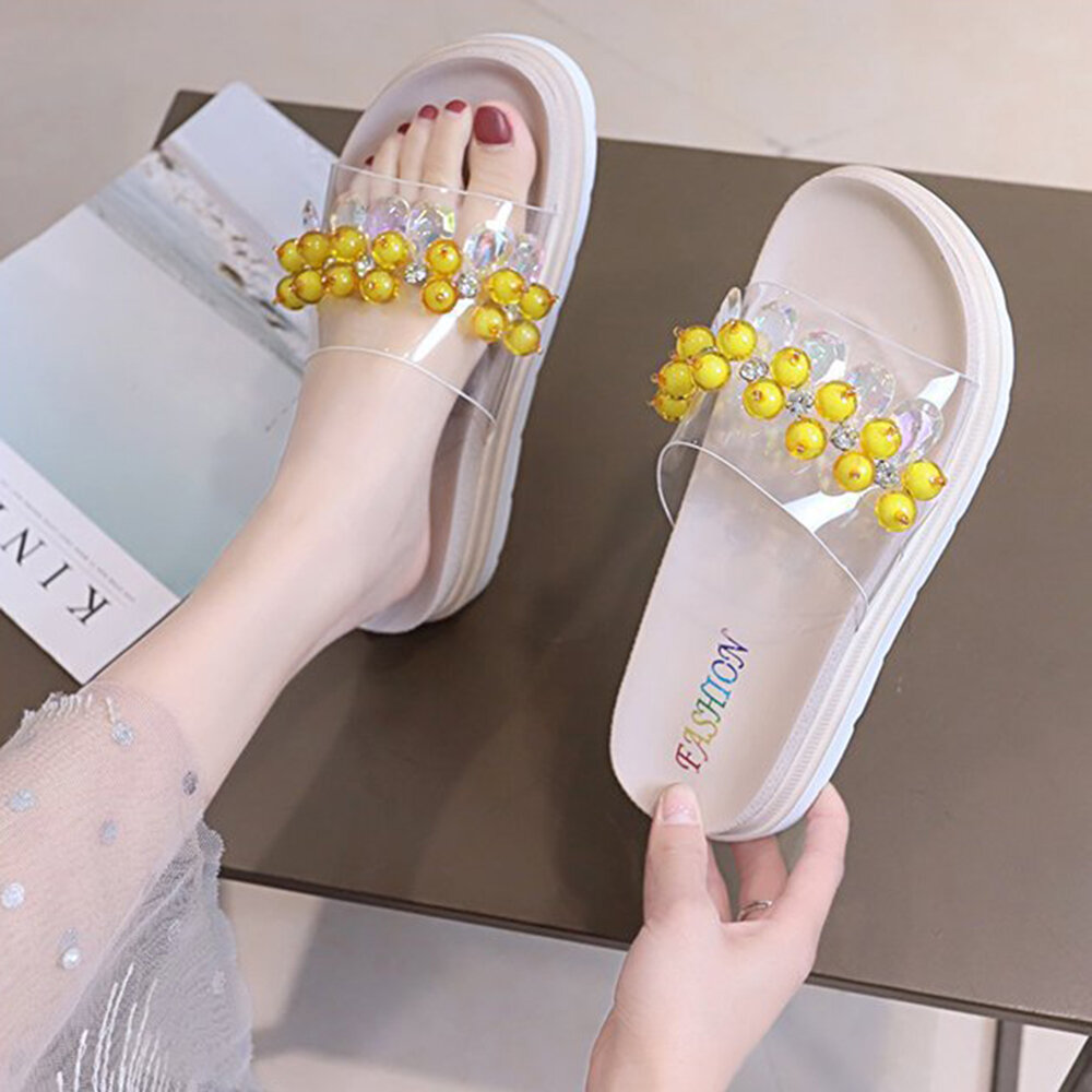 Women Faux Pearl Rhinestone Decor Comfy Non Slip Platform Slippers