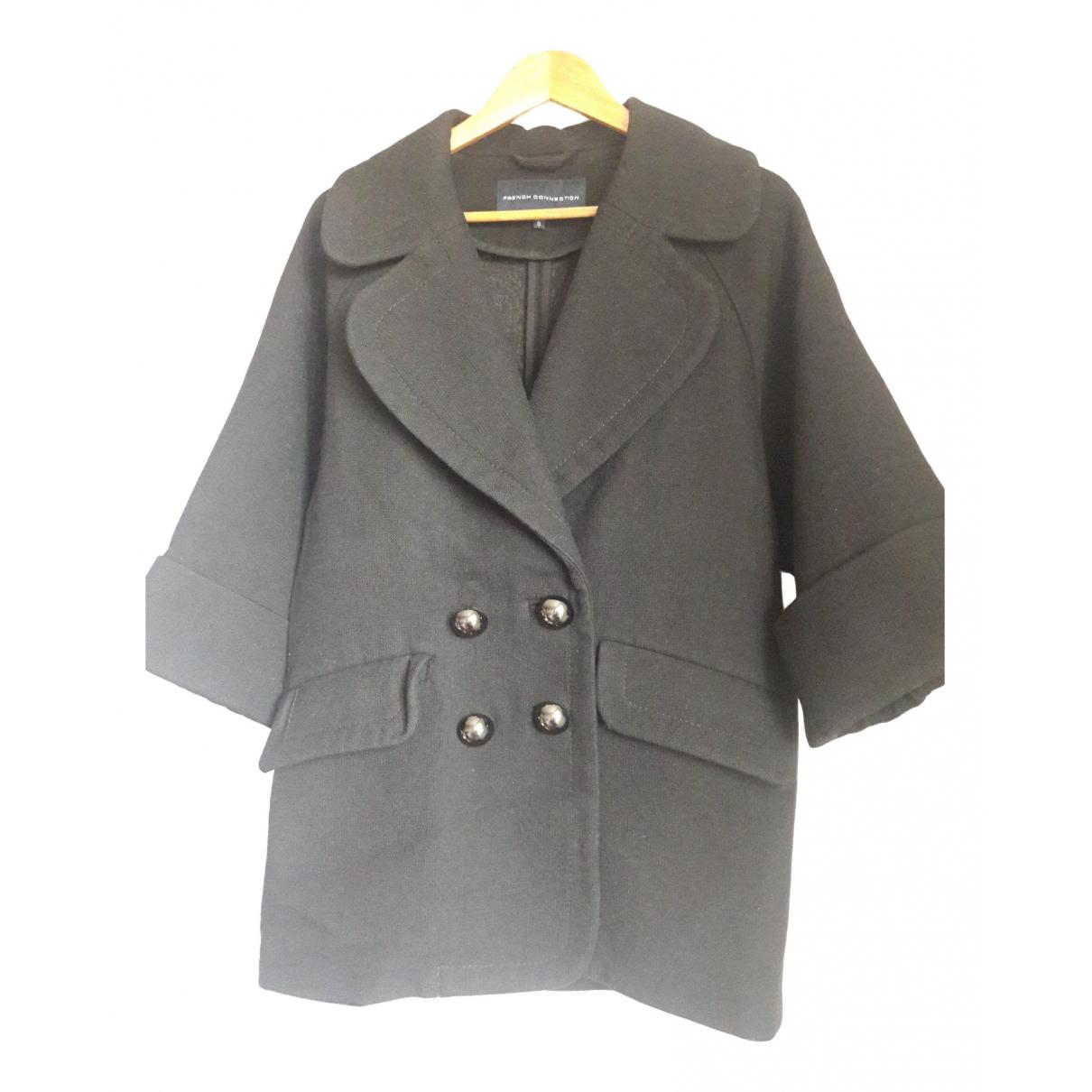 French Connection - Manteau   pour femme en laine - noir