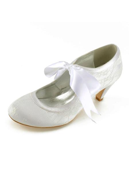 Milanoo Zapatos de novia de encaje 6.5cm Zapatos de Fiesta Zapatos Color champaña de tacon de prisma Zapatos de boda de puntera redonda
