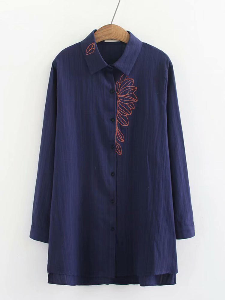 Women Vintage Leaves Embroidery Long Sleeve Loose Blouse
