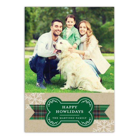 20 Pack of Gartner Studios® Personalized Happy Howl-Idays Flat Pet Holiday Photo Card in Forest | 5