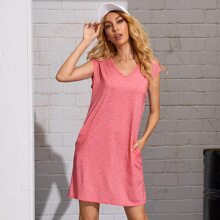 V-neck Space Dye Tee Dress