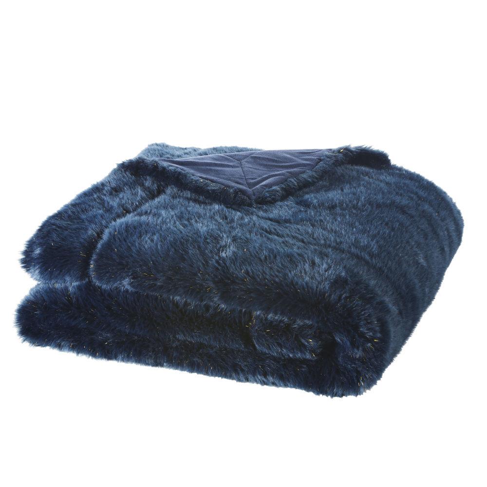 Decke aus Kunstpelz in Nachtblau 150x180