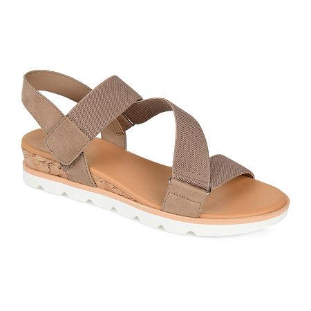 Journee Collection Womens Sammi Wedge Sandals, 8 1/2 Medium, Beige
