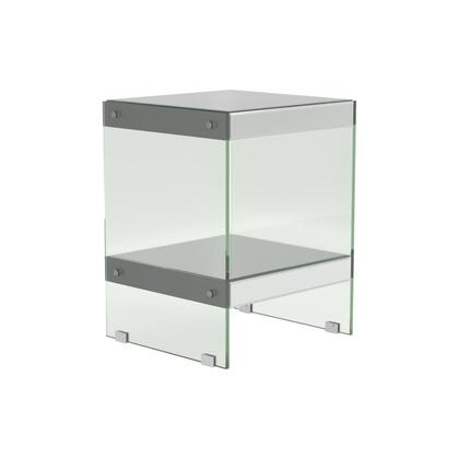 Wonder Collection 723417 17 End Table with Open Bottom Shelf Design  Finished in Mirror and Table Siding Tempered Glass in Silver