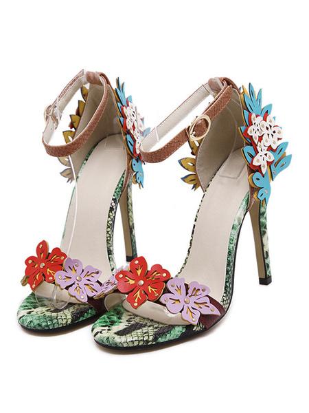 Milanoo High Heel Sandals Womens Flower Embellished Open Toe Ankle Strap Stiletto Heel Sandals