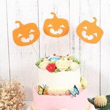 3 Stuecke Tortenaufsatz mit Halloween Kuerbis Design