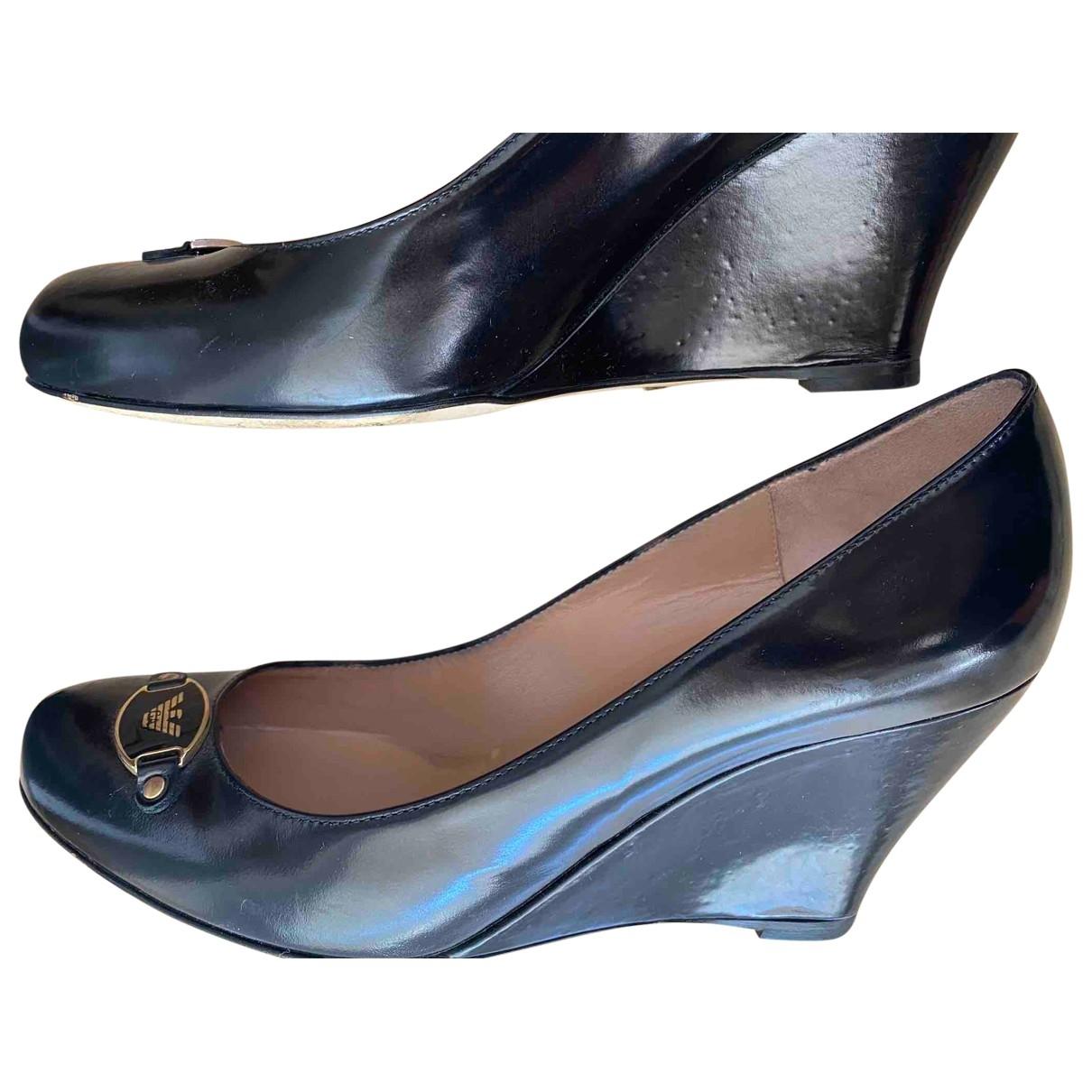 Emporio Armani - Escarpins   pour femme en cuir - noir