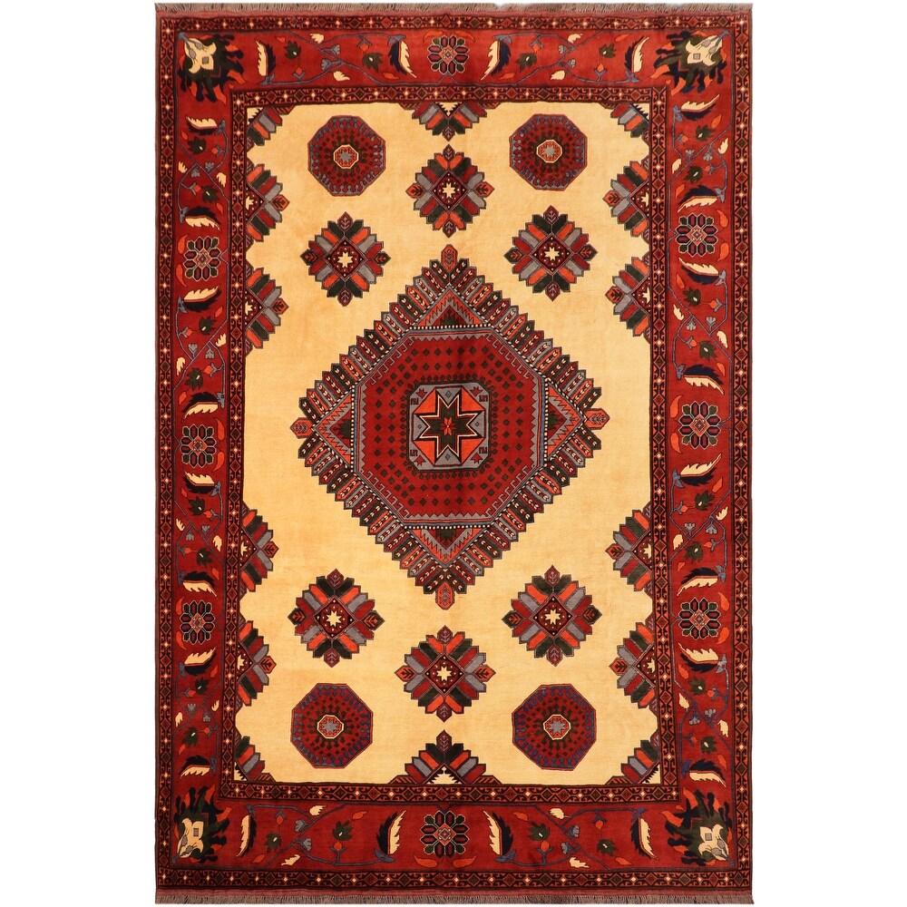 Antique Tribal Kargahi Myriam Beige Rust Wool Rug - 100 x 1210 - 100 x 1210 (Beige - 100 x 1210)