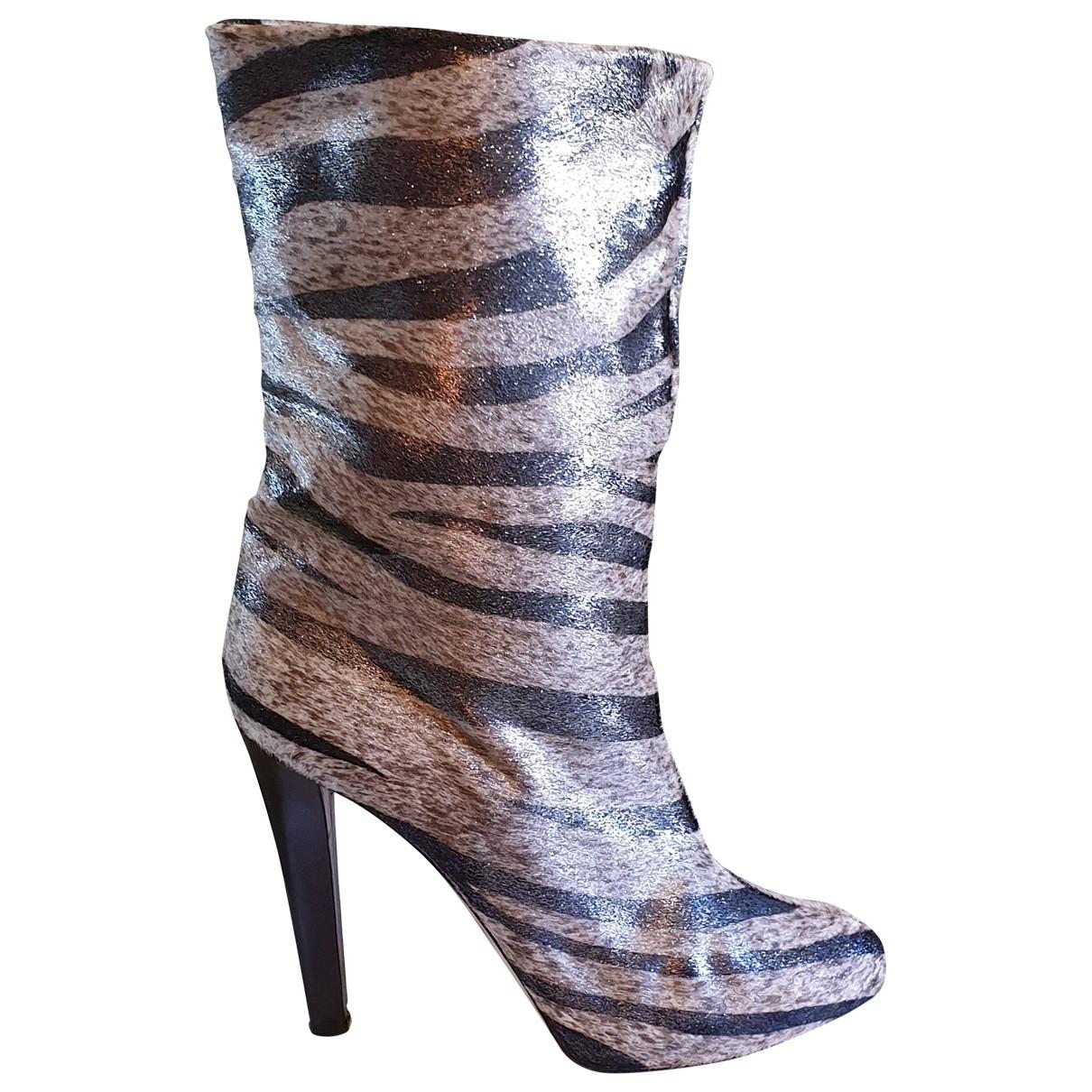 Blumarine - Boots   pour femme en veau facon poulain - multicolore