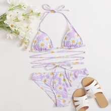 Dreieckiger Bikini Badeanzug mit Bluemchen Muster und Kreuzgurt