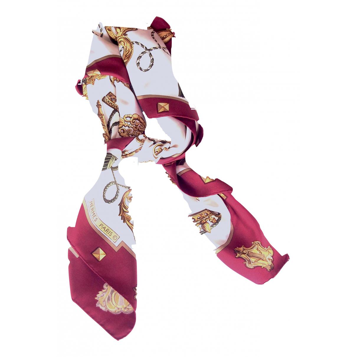 Hermes - Carre Carre 90 pour femme en soie - bordeaux