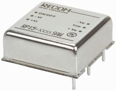 Recom RP15 AW 15W Isolated DC-DC Converter Through Hole, Voltage in 9 → 36 V dc, Voltage out 3.3V dc