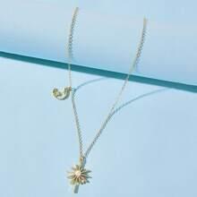 Rhinestone Star & Moon Pendant Necklace