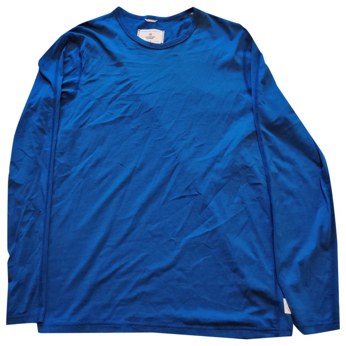 Reigning Champ - Tee shirts   pour homme en coton - bleu