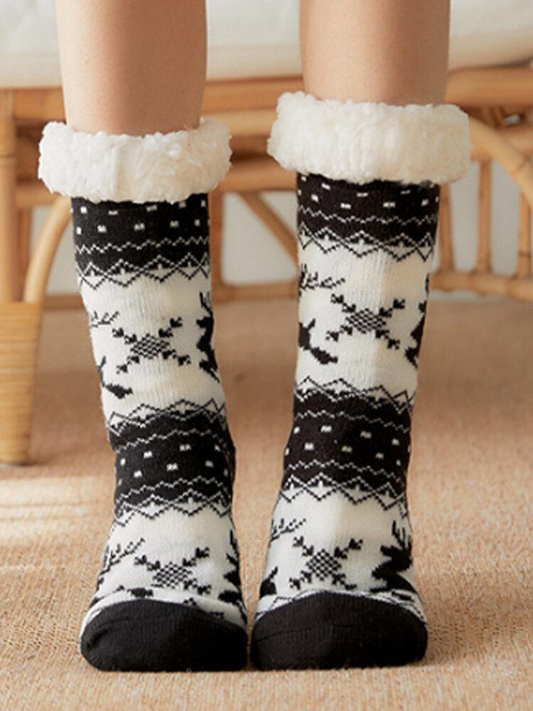 Women Christmas Elk Sock Plus Velvet Sleep Socks Casual Floor Socks