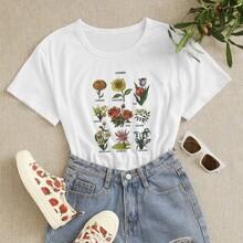 Camiseta con estampado de letra y planta
