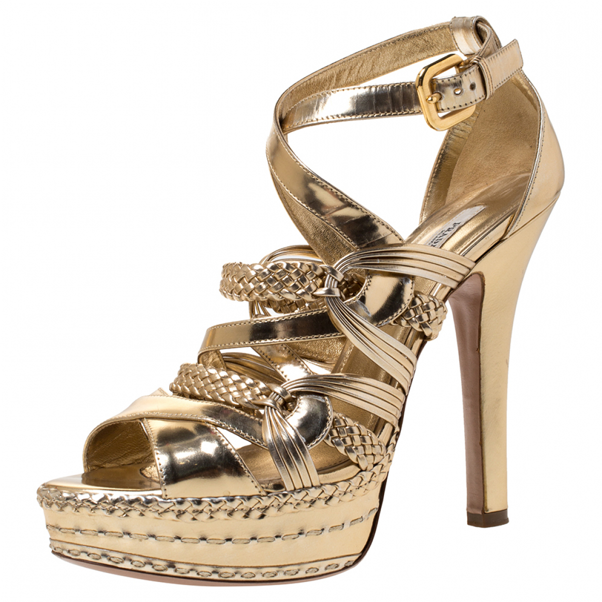 Prada \N Gold Leather Sandals for Women 9 US