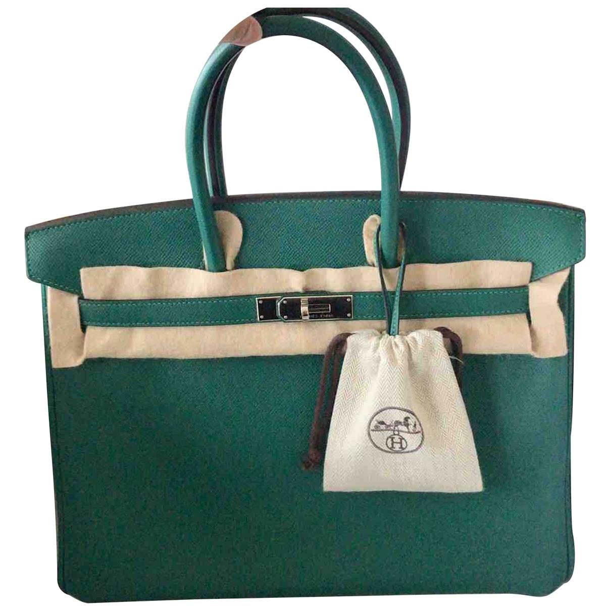 Hermès Birkin 35 Green Leather handbag for Women \N