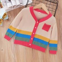 Strickjacke mit Farbblock, Taschen Flicken und Knopfen vorn