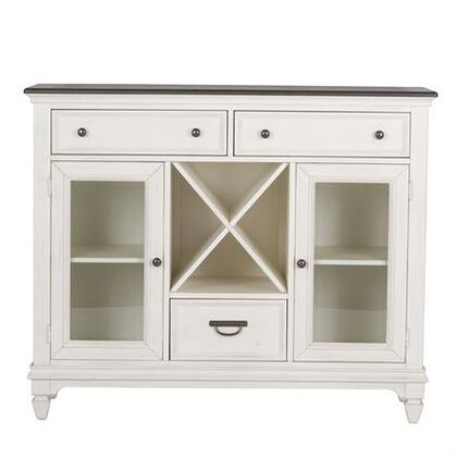 Allyson Park Collection 417-CB5444 Buffet with Center Wine Storage  Knob & Drop Bail Hardware and  Bead Molding in Wire Brushed White Finish with