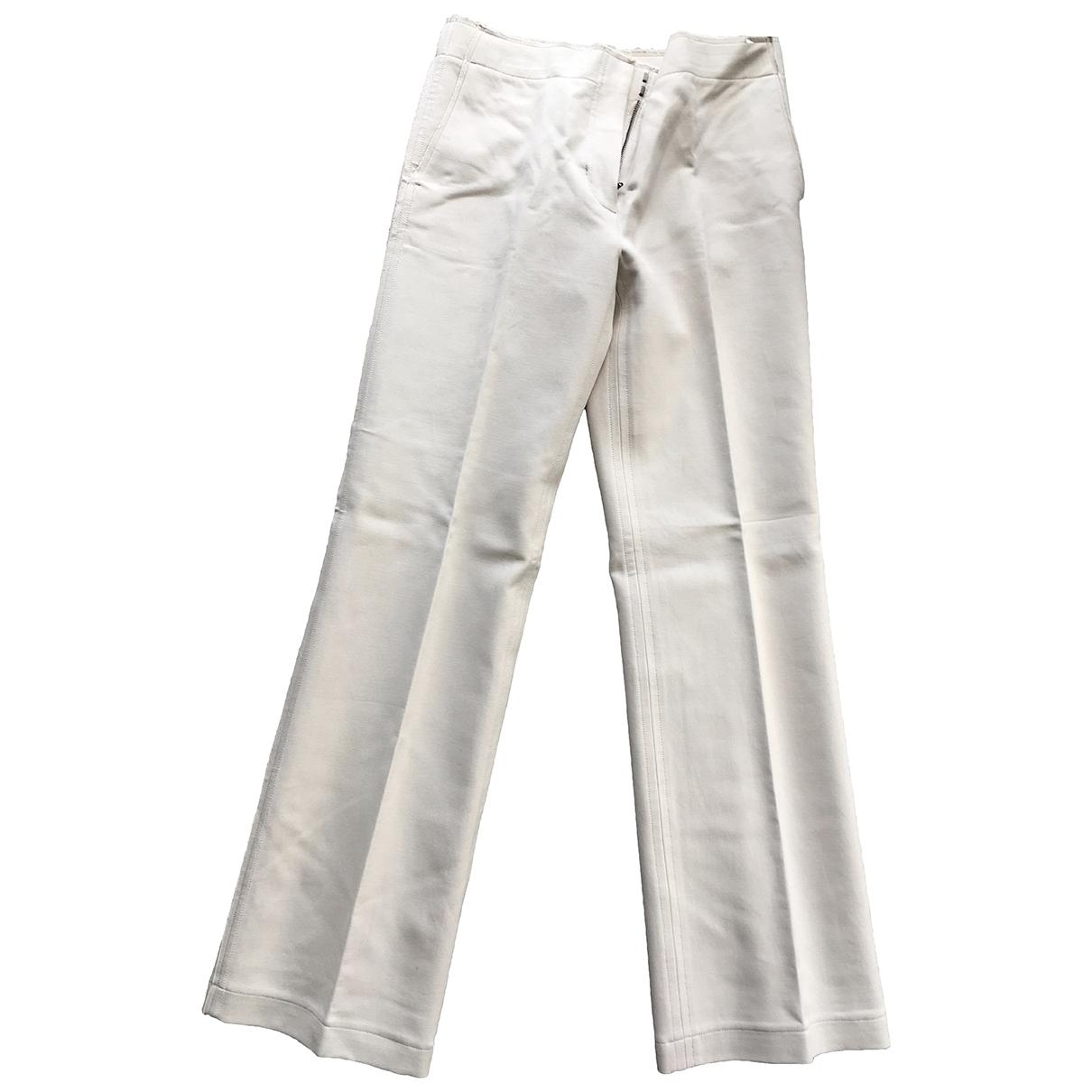 Helmut Lang \N Ecru Cotton Trousers for Women 6 US