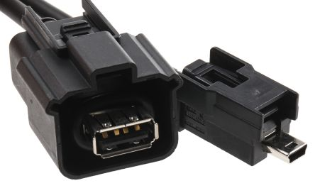Molex Female USB A to Male Mini USB B USB Cable Assembly, 0.5m