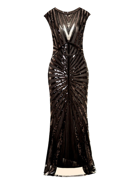 Milanoo Women Flapper Dress Sequin 1920s Fashion Style Outfits Great Gatsby Costume High Slit Bodycon Dress 20s Party Dress Halloween